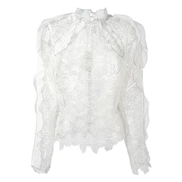 233a390d51c32 SELF-PORTRAIT White Cutout Ruffle Guipure Lace Top